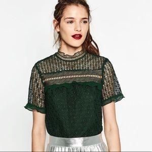 ZARA high neck ruffle lace blouse